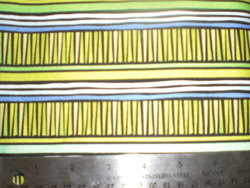 """Cotton Fabric-/""""Silly Suggestions/""""Greens,Black Columns-Green,Blue,Black,White str"""