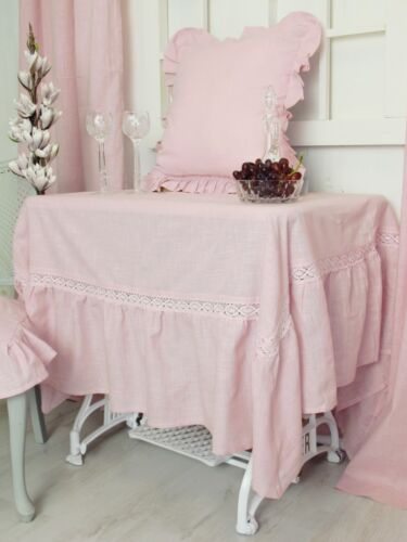 Julia Pink Tablecloth /& Lace /& Valance 170x270cm Cottage Shabby Linen Look