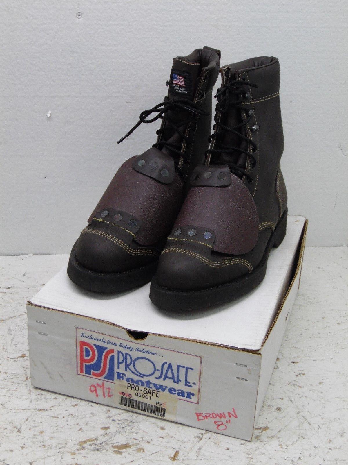 colorways incredibili Vintage nos pro-safe 9.5 EEE work work work stivali steel toe with toe flap leather Marrone  ordina ora i prezzi più bassi
