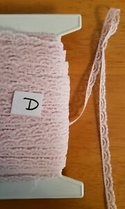 "trims Lot L Vintage tiny lace for baby doll clothes 5//8/"" Pink 10 yards crafts"