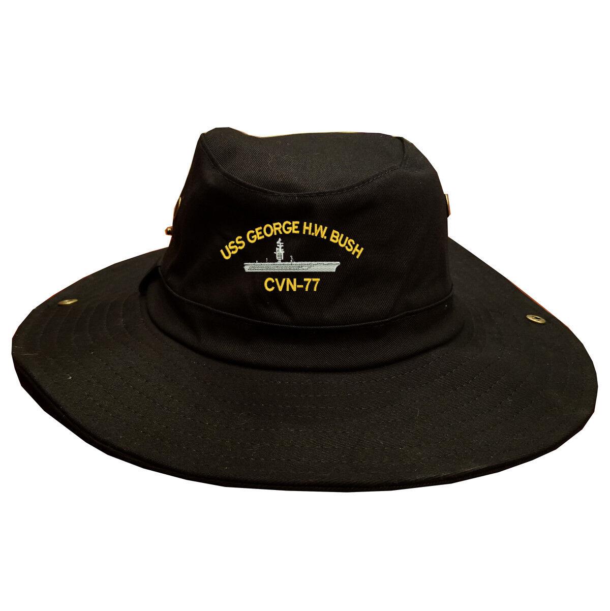100% Cotton Boonie Bush Hiking Outdoor Hat USS USS Hat GEORGE H.W. BUSH CVN-77 BATTLE eeffbb