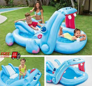 Inflatable Hippo Water Slide Swimming Pool Giant Kid Play Outdoor Backyard Patio