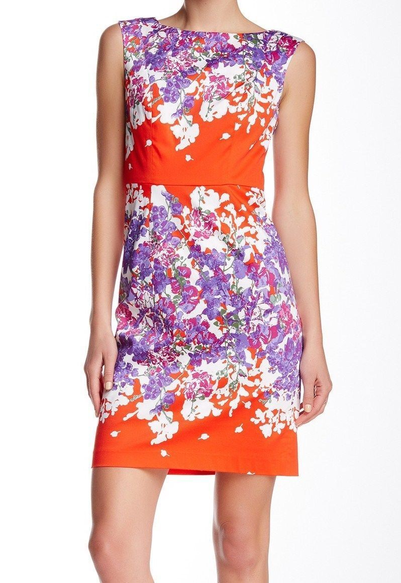 NWT MSRP  120 - ADRIANNA PAPELL Women's Floral Sheath Dress, Multicolor
