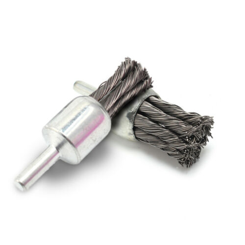 """2Pcs Stainless Steel Wire Knot End Brush Set With 1//4/""""Shank For Metal Polishing"""