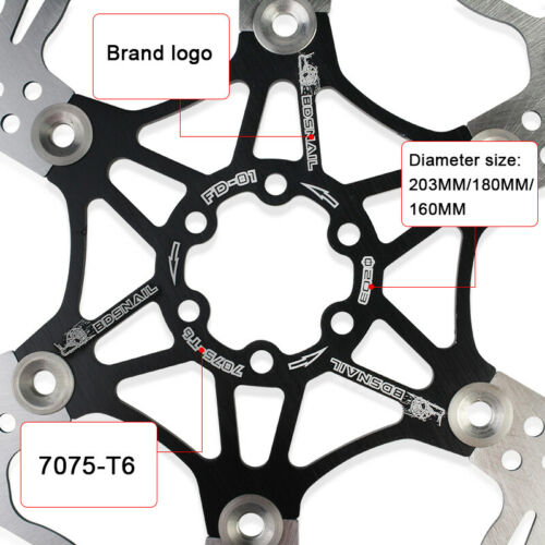 SNAIL MTB Bike 160//180//203mm Floating Disc Brake Rotor 6 Bolts T25 Screws Wrench