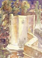 MEDIEVAL BUILDING Watercolour Painting JOHN THIRTLE FRSA c1930