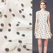 Black ladybugs print pure silk Crepe DE chine silk fabric Animal design,SCDC423