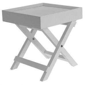 dekorativer beistelltisch weiss holz tisch klein ablagetisch deko nachttisch ebay. Black Bedroom Furniture Sets. Home Design Ideas