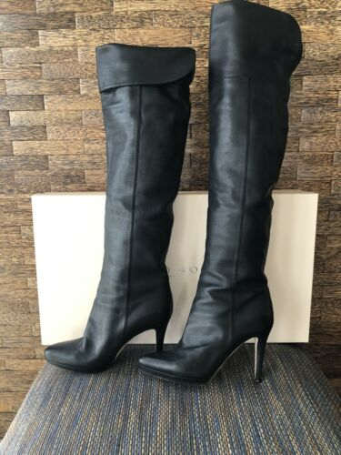 JIMMY CHOO Black Grainy Leather Over the Knee Boot