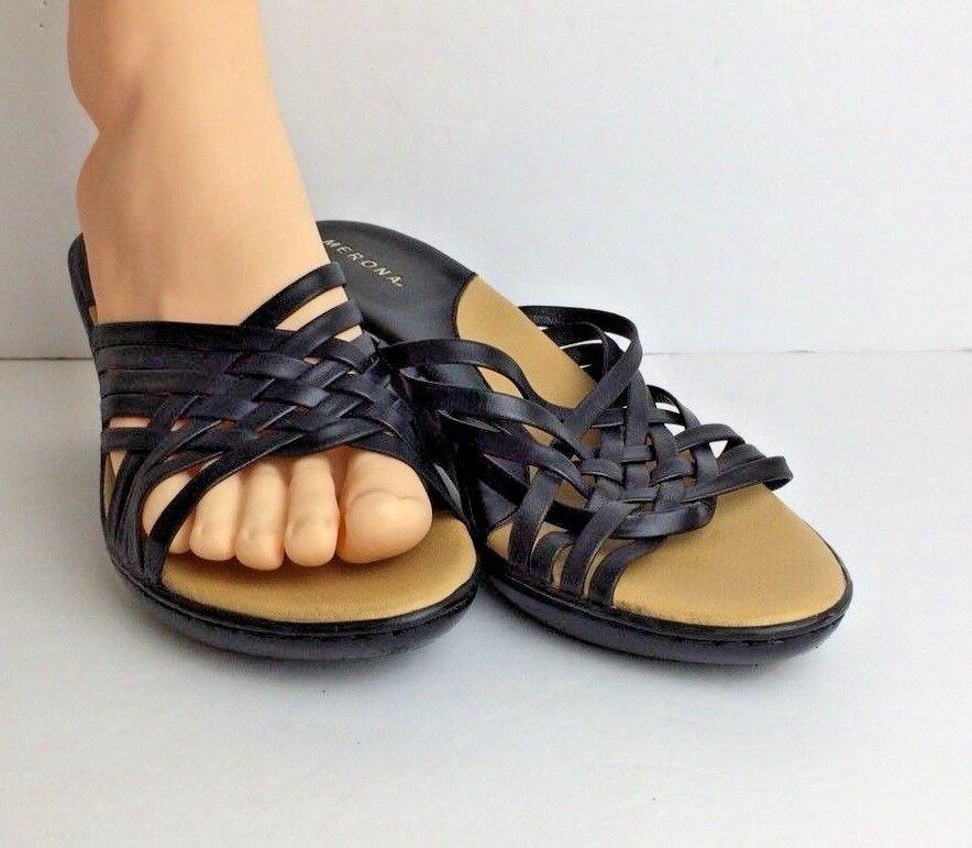 Women's Merona Black Leather Kitten Heel Sandals with EUC Woven Detail size 7.5 EUC with 163e66