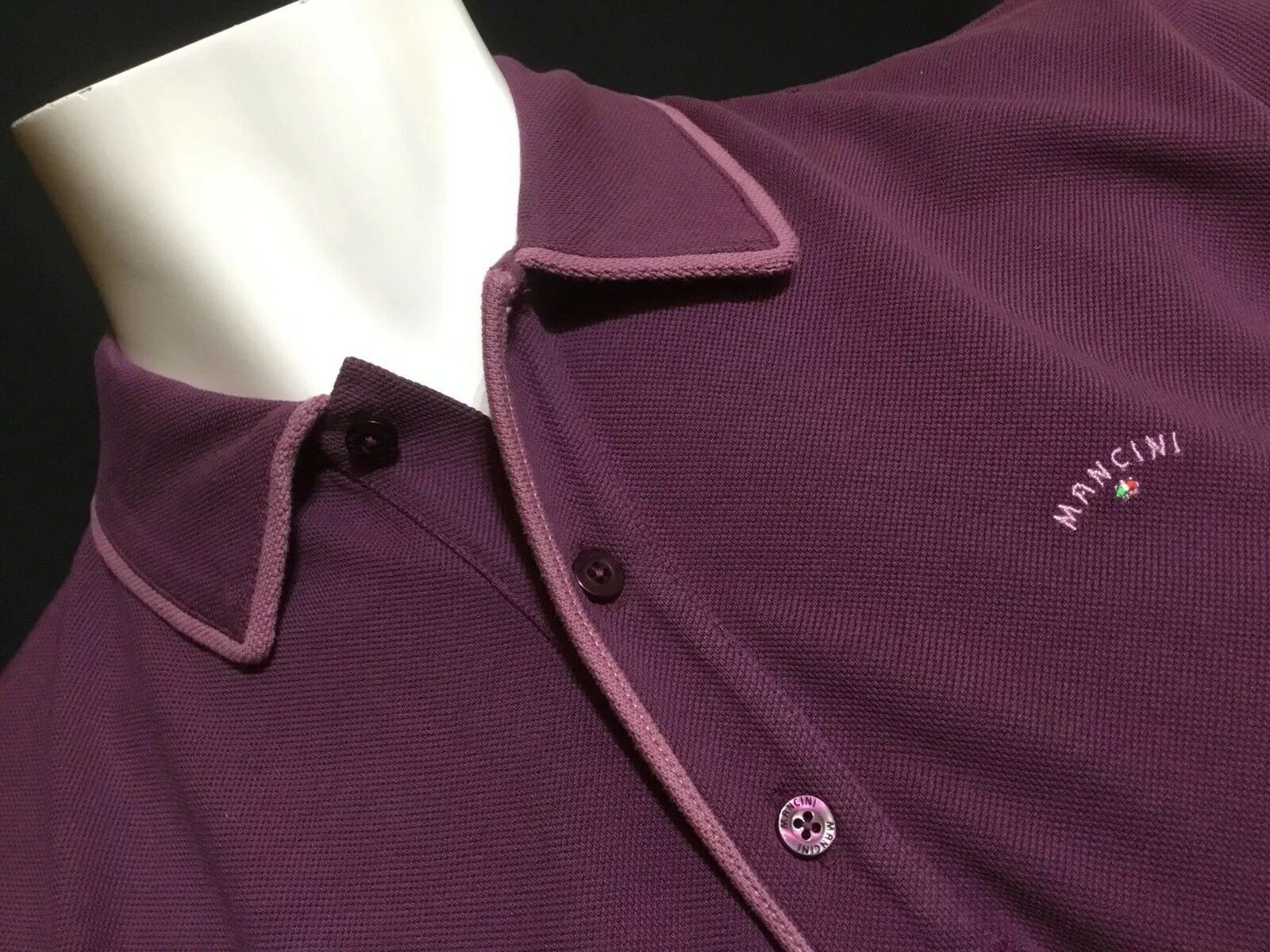 "Mancini  Large  Chest Measures 44""  Plum Homer Polo Shirt  RRP .99"