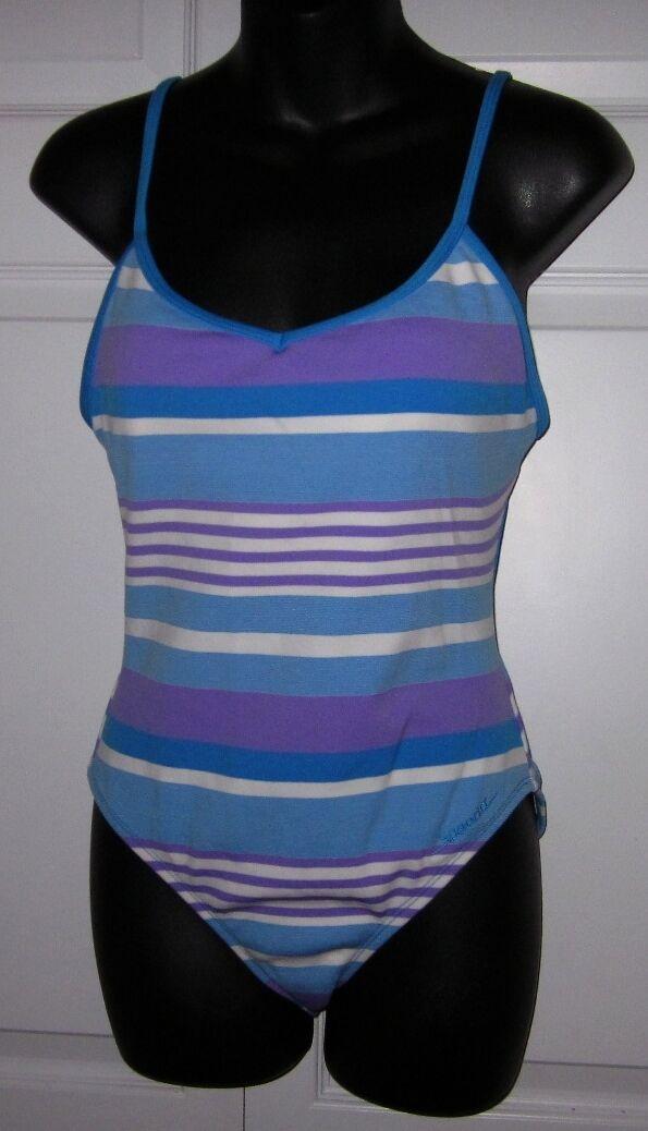 Speedo Wms 1 pc bluee Purple White Stripe Bathing Bathing Bathing Suit Swimsuit Size 12 44da5e