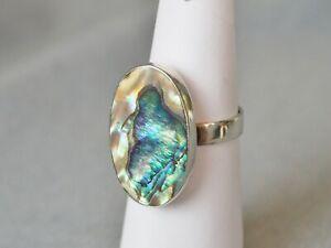 Damen-Ring-Sterlingsilber-925-Perlmutt-Abalone-Gr-53