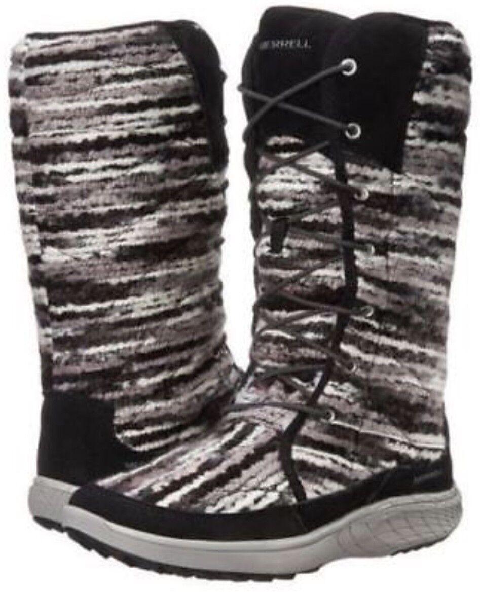 NEW WOMEN MERRELL BLACK GREY PECHORA SKY WINTER BOOTS VERY VERY VERY WARM SIZE 9 ed11d8