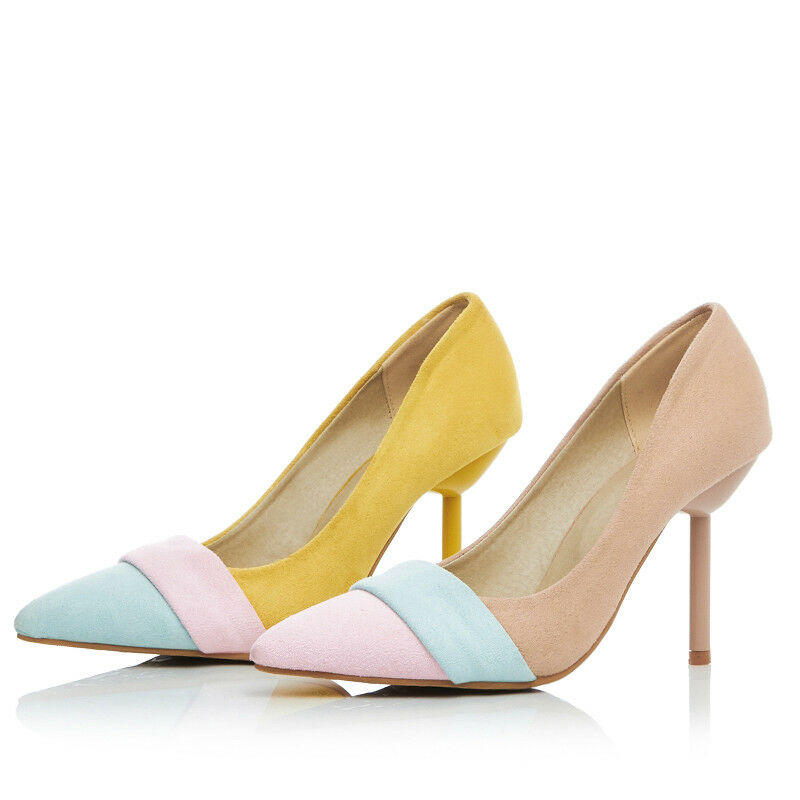 Womens Pointed Toe Stiletto High Heels Pumps Slip On Contrast Mary Jane shoes