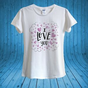 I Love You Pink Hearts Valentine S Day T Shirt 100 Cotton Unisex