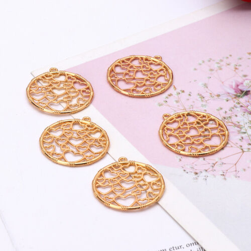 5Pcs DIY Round Heart Pendant Metal Frames Blank Bezel Setting UV Resin Jewelry