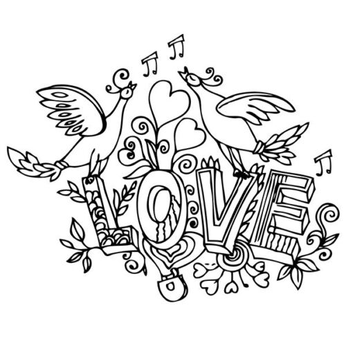 "30x37 cm 60x75 cm love 011 Sticker birds singing love /""love/"" xxl"