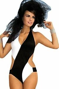 Chic-Glamour-ONE-PIECE-Color-Block-Black-White-Monokini-Swimsuit-Sz-L-NEW