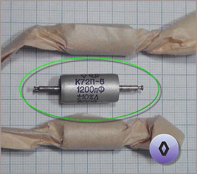 //-10/% 1000V AUDIO teflon capacitors K72P-6 6x 1200pF NOS.