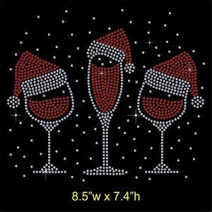 Christmas-Wine-Glass-Rhinestone-Diamante-Transfer-Hotfix-Iron-on-Motif-free-gift