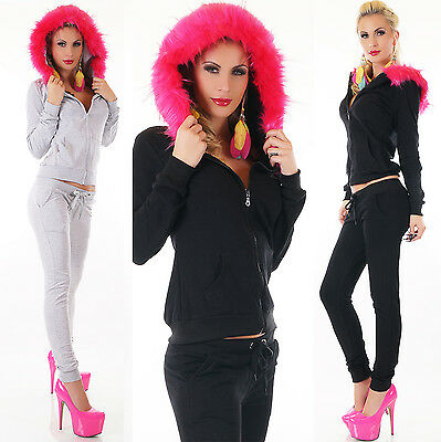 2pcs Women Tracksuit Hoodie Faux Fur Hood Overall Fitness Tracksuit Siz 8,10,12