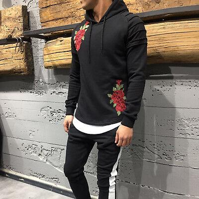 Menswear Tracksuits & Sweats Set Rose Print Patchy Hoodie Slim Fit NO TAX 3632