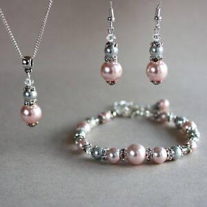 Blush Pink Light Grey Pearl Crystal Silver Wedding Bridesmaid
