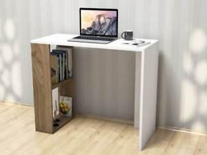Scrivania Per Computer Bianco.Scrivania Per Ufficio Porta Pc Nano Bianco Legno Scuro Homemania