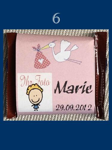 50x Gastgeschenk Ritter Sport personalisiert Taufe Geburt Mädchen Baby Schokolad