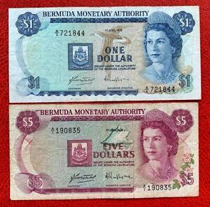 1978 Bermuda Banknote $1 & $5 P#28, P#29
