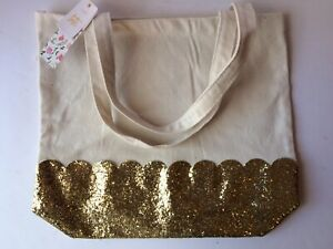 3792feda2cc8 Details about Gold Glitter Canvas Tote Bag - Cute Large Shopping Everyday  Shoulder Bag