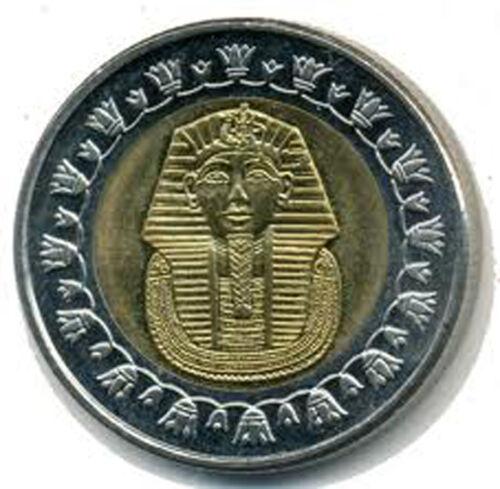 One Egypt 1 Pound Bi-Metallic Coin Pharaoh Tutankhamun COLLECTABLE
