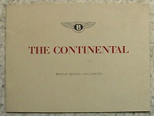 BENTLEY CONTINENTAL Car Sales Brochure c1953