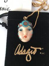 """Phoenix"" Adagio Face Necklace Hand-Painted Porcelain Swarovski Crystal Chain"