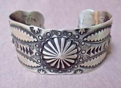 Native Navajo Hand Stamped Sterling Cuff Bracelet by Vincent Platero JB094