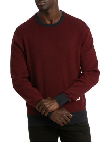 NEW Ben Sherman Ls Crew Neck Two Toned Knit Burgundy