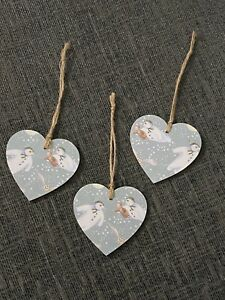The Snowman Wooden Hearts Christmas Tree Decorations Gift Tags Handmade 3 Set