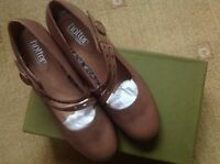 With Box Hotter Amethyst Women's Uk 7 (41) Brown Leather Heel Shoes- Rrp £72