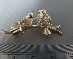 Vintage-Silver-amp-Gold-Bird-Brooch-Pin-ref-xbeod