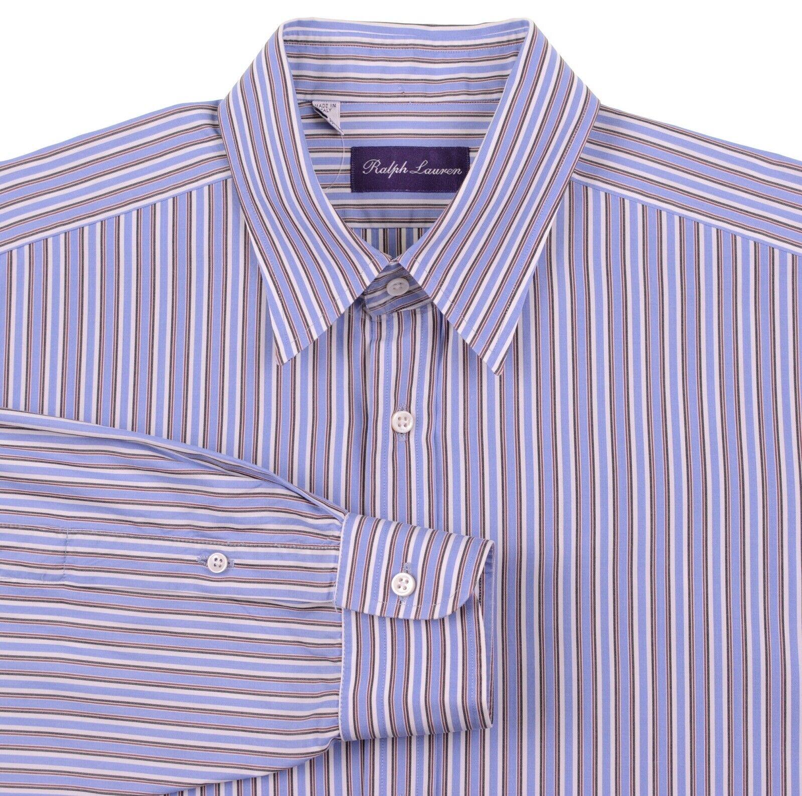 Ralph Lauren lila Label Blau Weiß Multi Stripe Spread Collar Dress Shirt 16.5