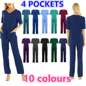 Unisex Hospital 2Piece Medical Scrub Nursing Doctor Scrubs Short Pant Uniform