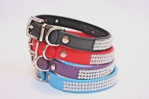 Bluetroope-Pu-Leather-Diamante-Dog-Cat-Adjustable-Collar-10-off-4-45-was-4-95