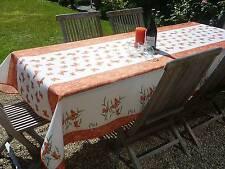 Tischdecke Provence 150x240 cm terra weiß aus Frankreich, pflegeleicht bügelfrei