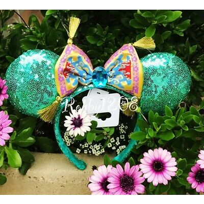 Disney Parks Aladdin Jasmine Magic Carpet Teal Sequin Minnie Ears Headband BNWT