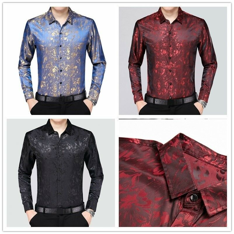 Mens Silk Floral Shirt Fit Long Sleeve Business Formal Dress Tops Blouse Fashion