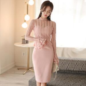 best service c0ece 436ff Dettagli su vestito corto abito tubino elegante rosa cipria morbido moda  manica 4845