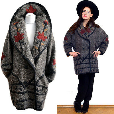 VTG Mohair WOOL Suede Blanket Folklore Gypsy Art Nouveau Cardigan Coat Hippy 70s