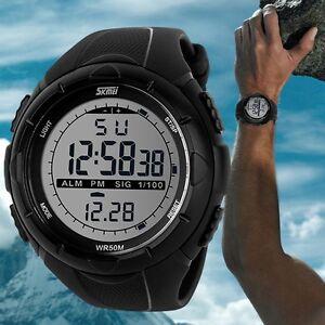 SKMEI-Men-039-s-LED-Digital-Alarm-Date-Military-Sports-Army-Waterproof-Quartz-Watch