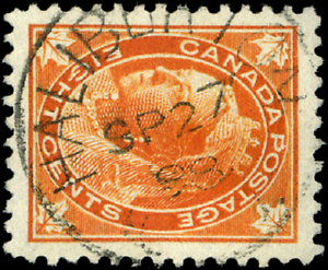 Canada-72-used-VF-1897-Queen-Victoria-8c-orange-Maple-Leaf-SON-CDS-CV-30-00